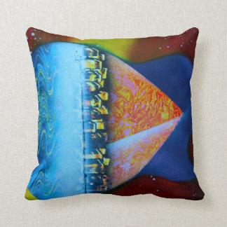Spraypainting guitar pyramid city water throw pillow