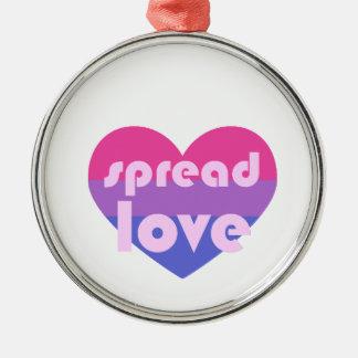 Spread Bisexual Love Metal Ornament