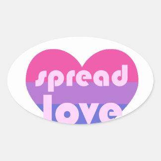 Spread Bisexual Love Oval Sticker