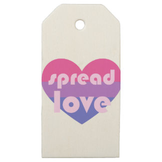 Spread Bisexual Love Wooden Gift Tags
