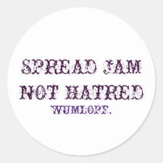 SPREAD JAM NOT HATRED. CLASSIC ROUND STICKER