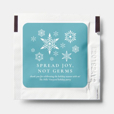 Spread Joy Not Germs Snowflakes Christmas Holiday Hand Sanitizer Packet