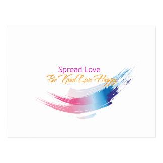 Spread Love, Be kind Live Happy Postcard