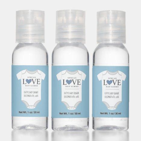 Spread Love Blue Boy Bodysuit Baby Shower Hand Sanitizer