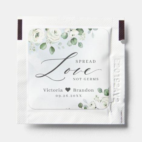 Spread Love floral dusty blue wedding favor Hand Sanitizer Packet