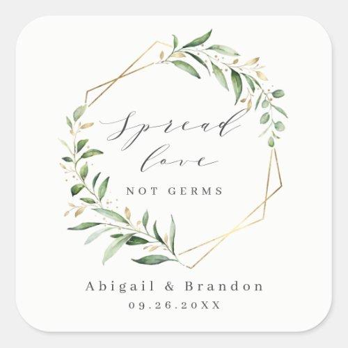 Spread Love Greenery Gold Geometric Rustic Wedding Square Sticker