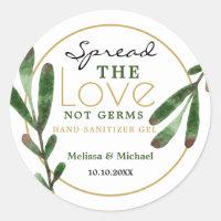 Spread Love Greenery Wedding Hand Sanitizer Favor Classic Round Sticker