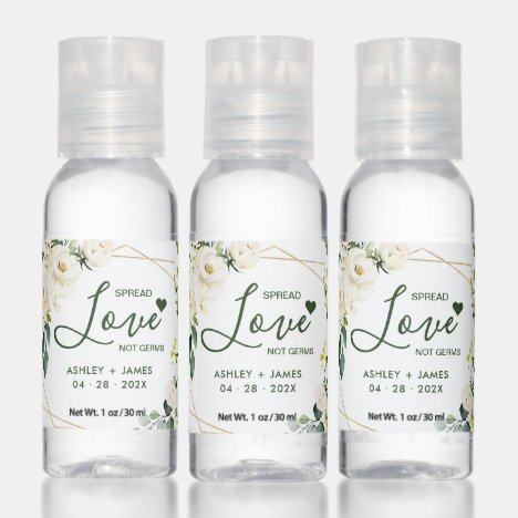 Spread Love Not Germs Geometric Green White Roses Hand Sanitizer