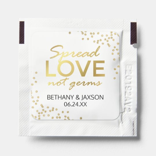 Spread Love Not Germs Gold Glitter Hand Sanitizer Packet