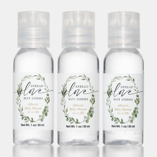 Spread love not germs greenery eucalyptus gold hand sanitizer