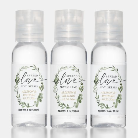 Spread love not germs greenery gold wedding favors hand sanitizer