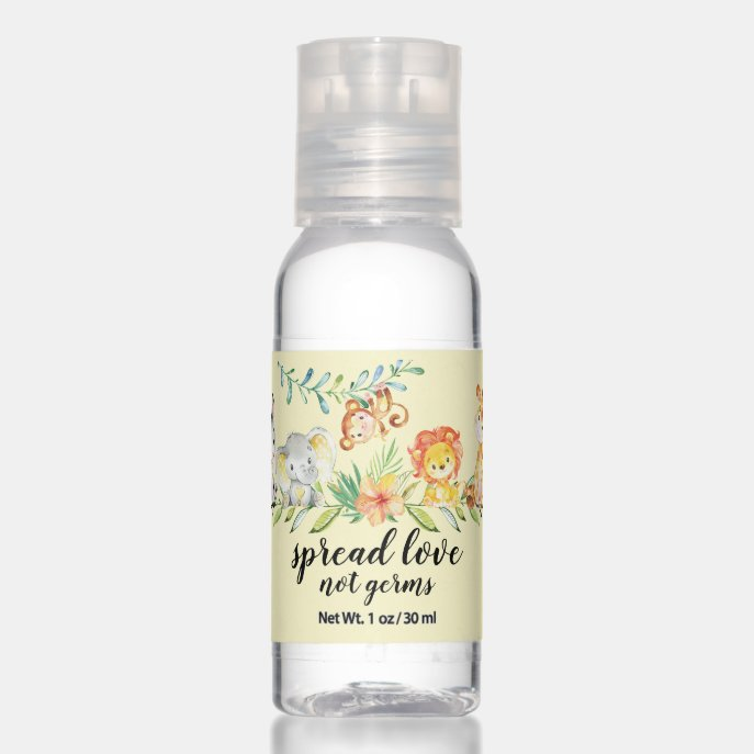 Spread Love Not Germs Neutral Baby Shower Hand Sanitizer