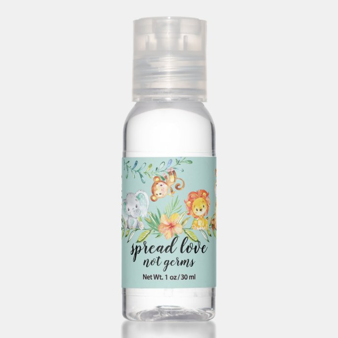 Spread Love Not Germs Sweet Safari Baby Shower Hand Sanitizer