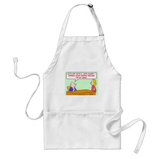 spread papers around desk adult apron