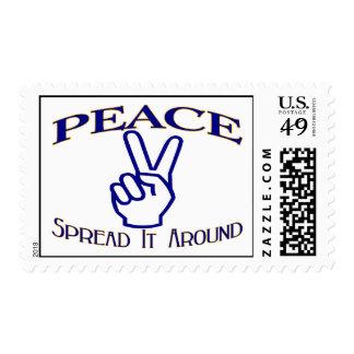 Spread Peace Around Peace Sign Postage