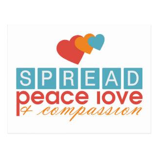 Spread Peace Love and Compassion Postcard