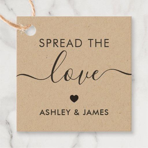 Spread the Love Tag, Wedding Gift Tag, Kraft Favor Tags