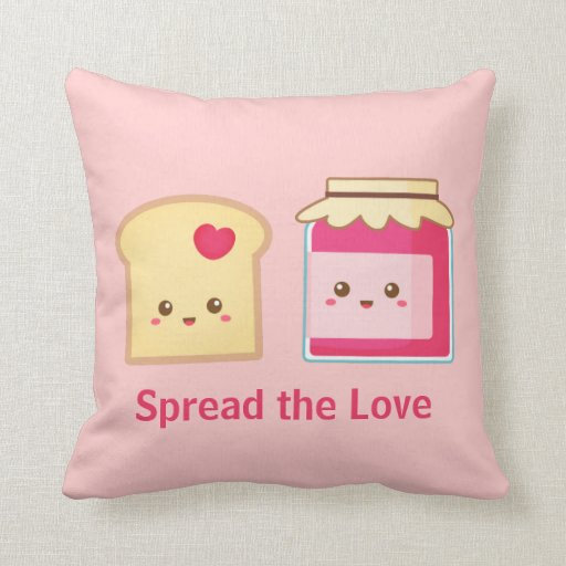 Spread the love with Cute Toast and Jam Pillow Zazzle