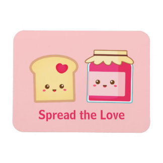 Spread the love with Cute Toast and Jam Rectangular Photo Magnet