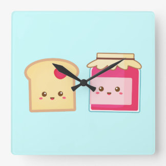 Spread the love with Cute Toast and Jam Square Wall Clock
