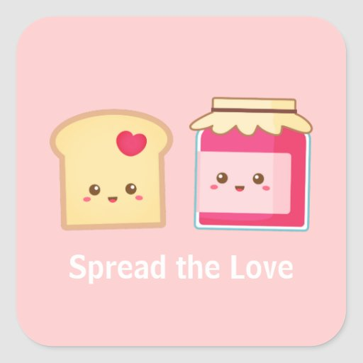 Spread the love with Cute Toast and Jam Square Sticker