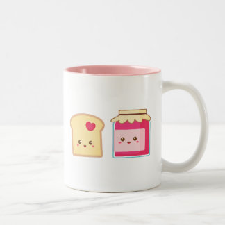 Spread the love with Cute Toast and Jam Two-Tone Coffee Mug