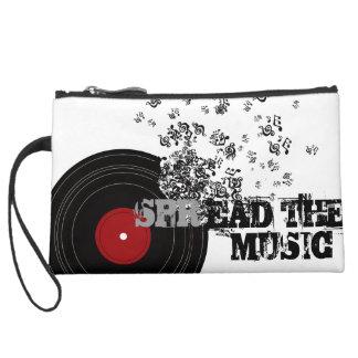 Spread_The_Music Suede Wristlet Wallet