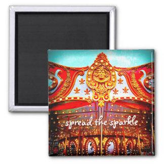 """Spread the sparkle"" fun carousel gold face photo Magnet"