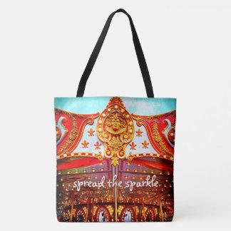 """Spread the sparkle"" quote fun carousel face photo Tote Bag"