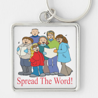 Spread The Word Silver-Colored Square Keychain