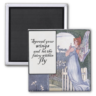 Spread your Fairy Wings 2 Inch Square Magnet