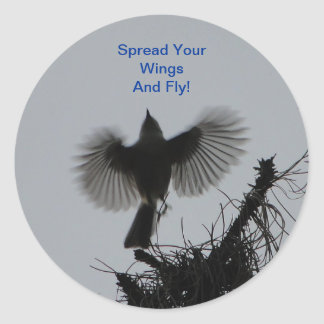 Spread Your Wings And Fly, Tufted Titmouse Classic Round Sticker