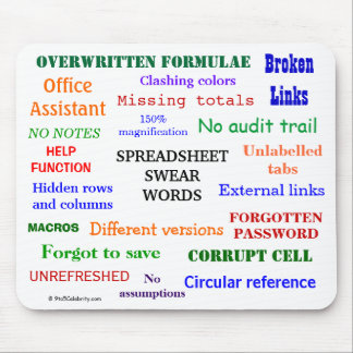 Spreadsheet Swear Words Cruel Funny Joke Terms Mouse Pad