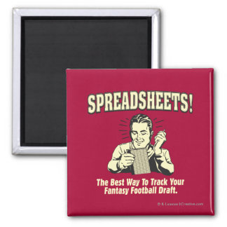 Spreadsheets: Track Your Fantasy Football Draft 2 Inch Square Magnet