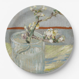 Sprig of Flowering Almond in a Glass by Van Gogh Paper Plate