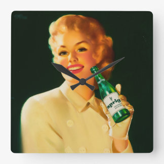 Sprig Soda ad illustration Pin Up Art Square Wall Clock