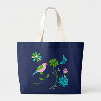 Sprind Garden Illustration On Blue Jumbo Tote Jumbo Tote Bag