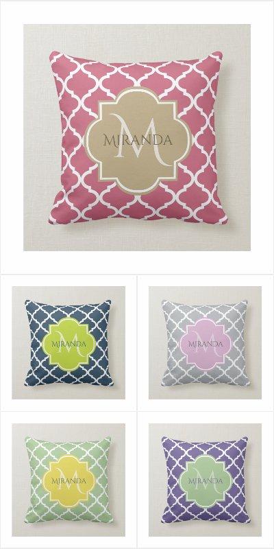 Spring 2018 Quatrefoil With Monogram Pillows