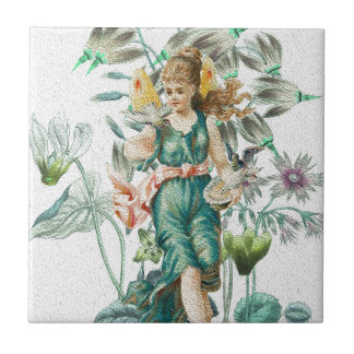 Spring 2 - Angel with Flowers Tile