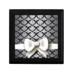 Spring 4 Pattern Black Lace with Bow Trinket Box