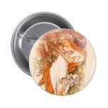 Spring - Alphonse Mucha Art Nouveau Pinback Buttons