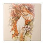 Spring - Alphonse Mucha Art Nouveau Ceramic Tile