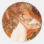 Spring - Alphonse Mucha Art Nouveau Classic Round Sticker