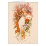 Spring - Alphonse Mucha Art Nouveau Greeting Card