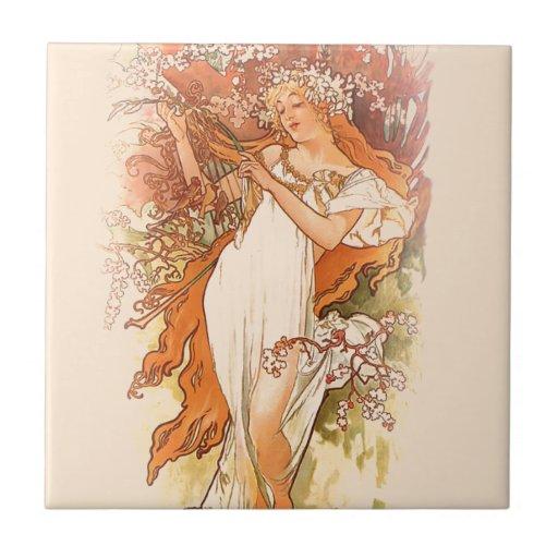 Spring - Alphonse Mucha Art Nouveau Tile