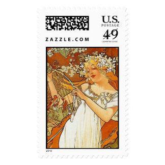 Spring, Alphonse Mucha - Postage Stamp
