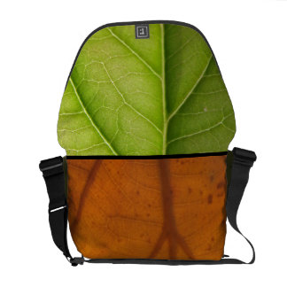 Spring and Fall, Green and Orange Leaves Messenger Bags
