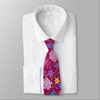Spring and Summer Wild Flowers on magenta/purple Tie