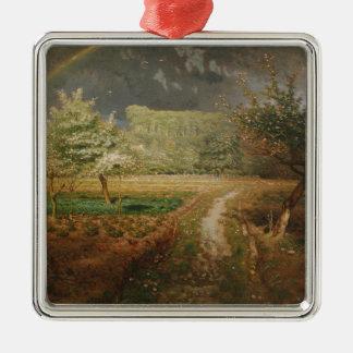 Spring at Barbizon, 1868-73 Square Metal Christmas Ornament
