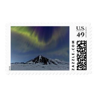 Spring Aurora over Marmot Mt at Hatcher Pass Postage Stamp